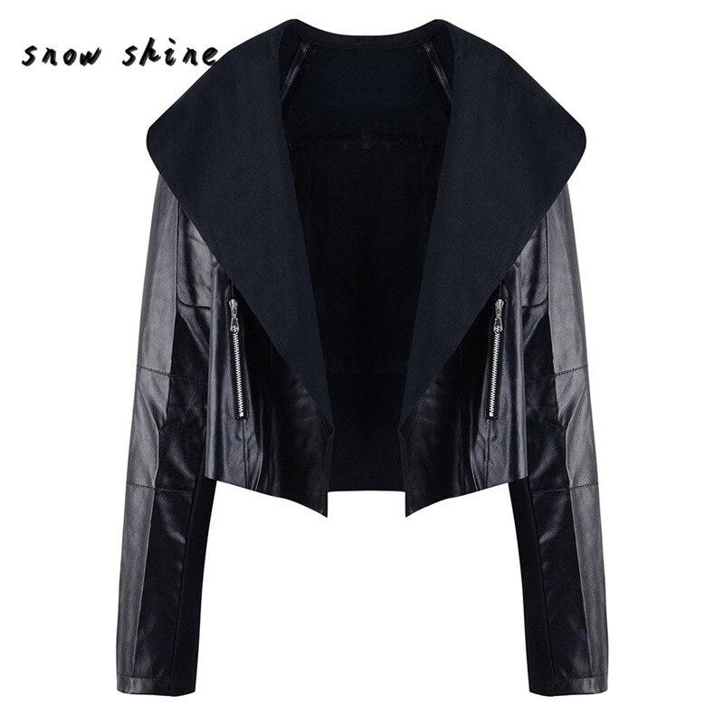 Woweile #5001 Для женщин панк тонкий Байкер Мотоцикл короткая куртка с лацканами кожаные пальто Верхняя одежда для Для женщин