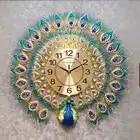 Европейские Роскошные Кварцевые креативные большие настенные часы, художественные золотые часы с изображением павлина, настенные совреме...