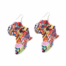 Wood Rock Africa Map Geometric Ankh Colorful Tropical Elephant Animal Earrings Vintage Party Jewelry Retro Wooden DIY Accessory цена