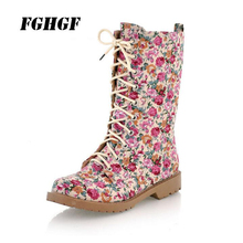 The fashion leisure Female boots Round head Lace-up low-heeled printed Martin boots Short boots Personality cloth boots lace up back block heeled boots