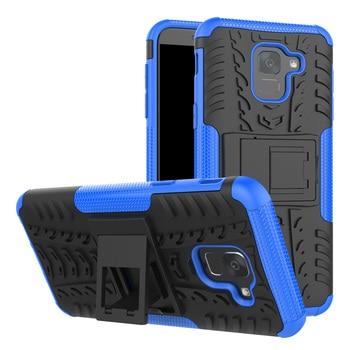 Para Samsung Galaxy J6 2018 J600 SM-J600F J600G caso de doble capa patrón de neumático de armadura caso con soporte Anti Shock duro cubierta trasera