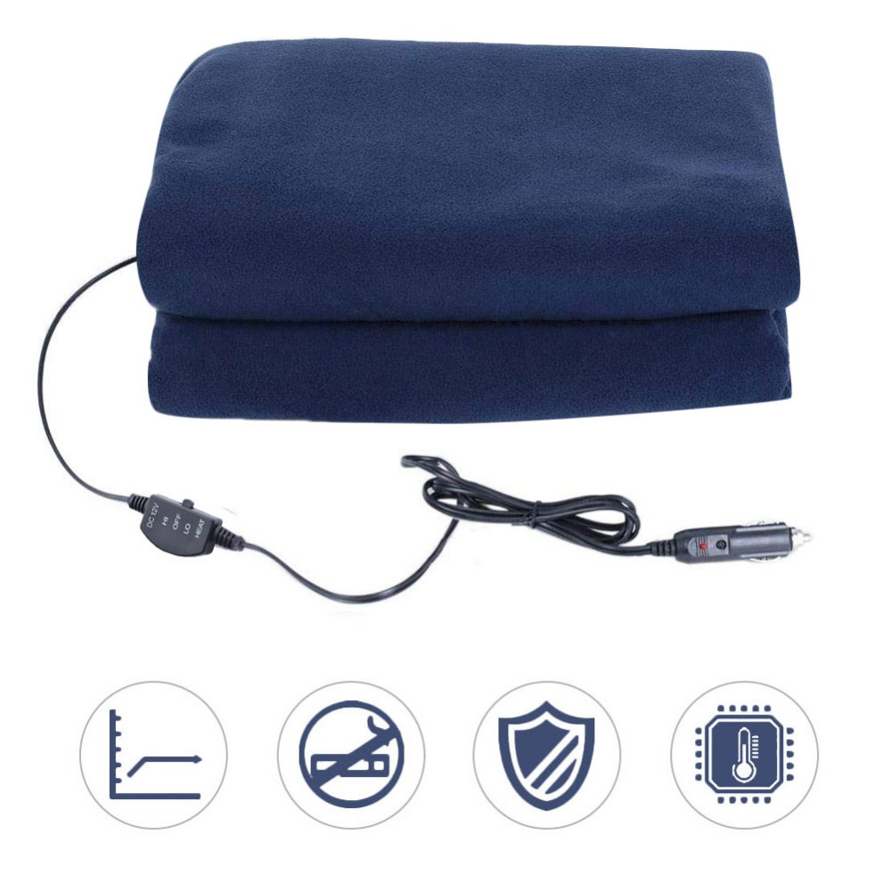 Car Supplies Winter Hot Navy Blue Fleece 12v 135cm Switch Control Car Constant Temperature Heating Blanket Car Electric Blanket