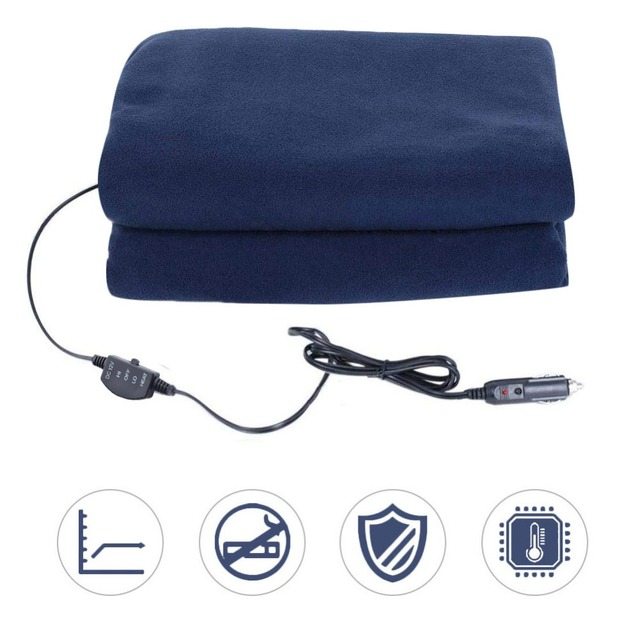 Car Supplies Winter Hot Navy Blue Fleece 12v 135cm Switch Control Constant Temperature Heating Blanket Electric