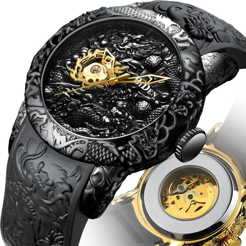 Mens Automatic Watch Gold Dragon 3D Sculpture Design Male Clock Steampunk Mechanical Wristwatch Relogio