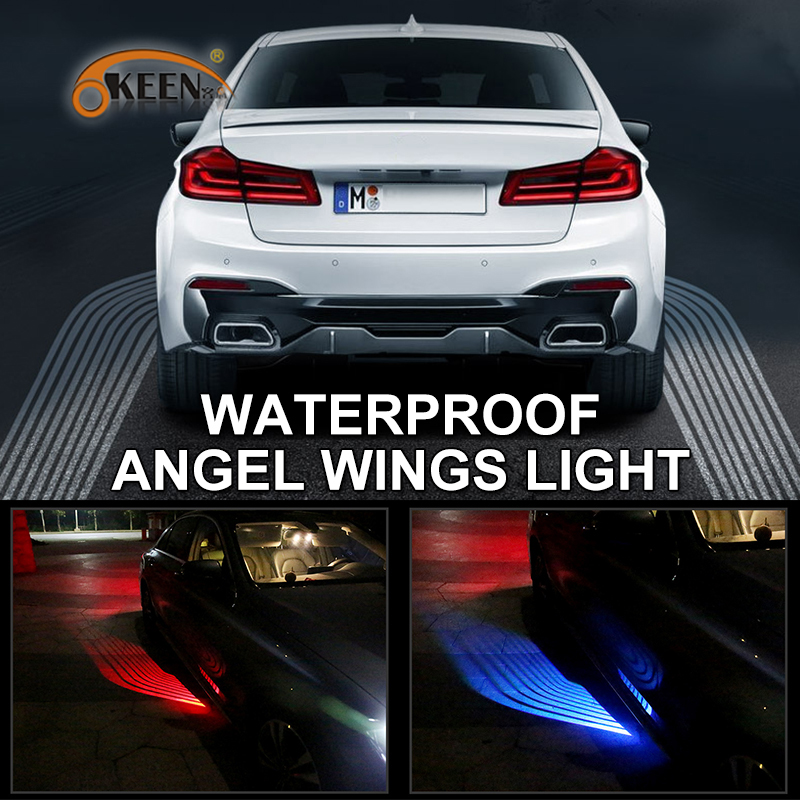 OKEEN Car 2x jael power Angel Wings light welcome lights Door Projector Light Ghost Shadow Puddle 12V LED White /Red/Blue/ RGB sunset horseman gobo door led projector light welcome lamp cree q5 ultra bright puddle light for lincoln corvette vw dodge 1527
