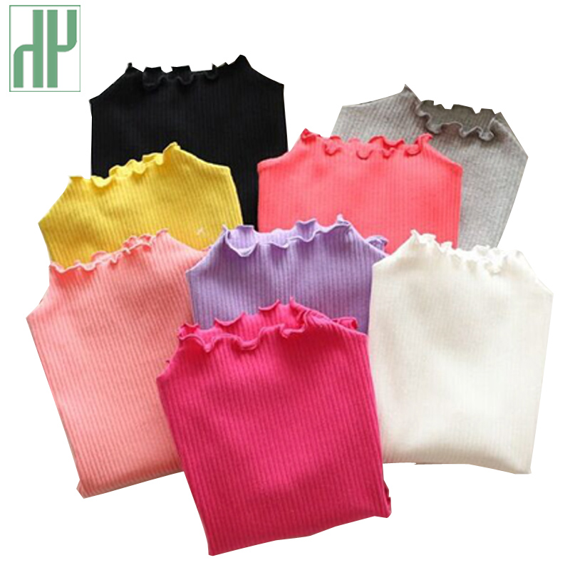 все цены на Candy color Children T shirt Girls casual Blouse tops fall Autumn Turtleneck baby girls long sleeve tops T shirt kids clothes
