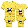 3 unids/set Lindo Panda Camisetas 95% Algodón Familia Top Amarillo niño Camisa Masculina de Manga Corta de La Familia Camisetas y Camisas de Verano Tees