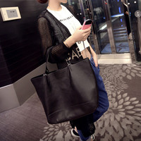 Hot venda nova grande moda bolsas de ombro mulheres negras partido cor prata bolsa de mulher casuais grandes bolsas portáteis frete grátis