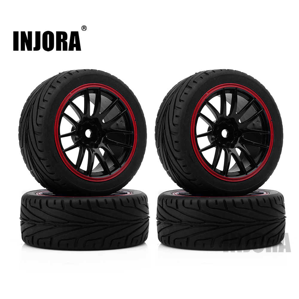 INJORA 70*26MM Rubber Tire & Plastic Wheel Rim for HSP HPI 1/10 RC Car On Road RC Car Part injora 70 30mm 4pcs plastic wheel rim & rally tire for 1 10 rc car tamiya hsp hpi 4wd rc on road car
