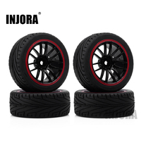 INJORA 70*26MM Rubber Tire & Plastic Wheel Rim for HSP HPI 1/10 RC Car On Road RC Car Part|rubber tyre|plastic wheel|rims wheels tires -