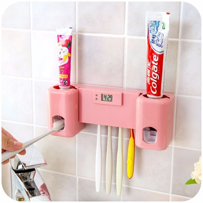 Silicone Automantic Toothbrush Holder For Adults Child Toothpaste Dispenser Set With Clock Toothpaste Squeezers Bath Accessory