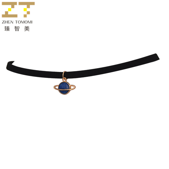 Fashion Maxi Torques Black Velvet Leather Geometric Circle Planet Pendants False Collar Chokers Necklace Women Jewelry 2018 Gift
