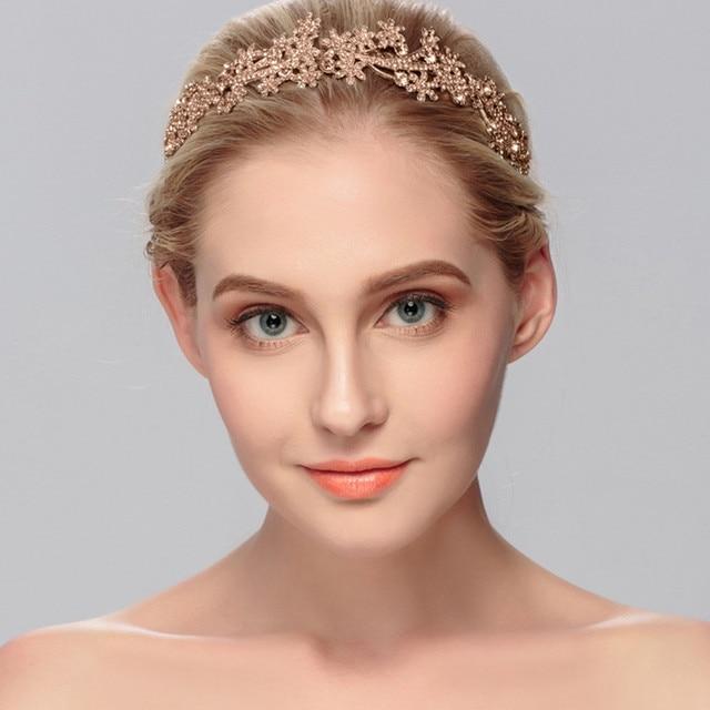 2019 Hot Sale Simple Wedding Handmade Pearl Tiara Rose Gold Flower Diamond Crown Bridal Jewelry Headband New Wedding F1