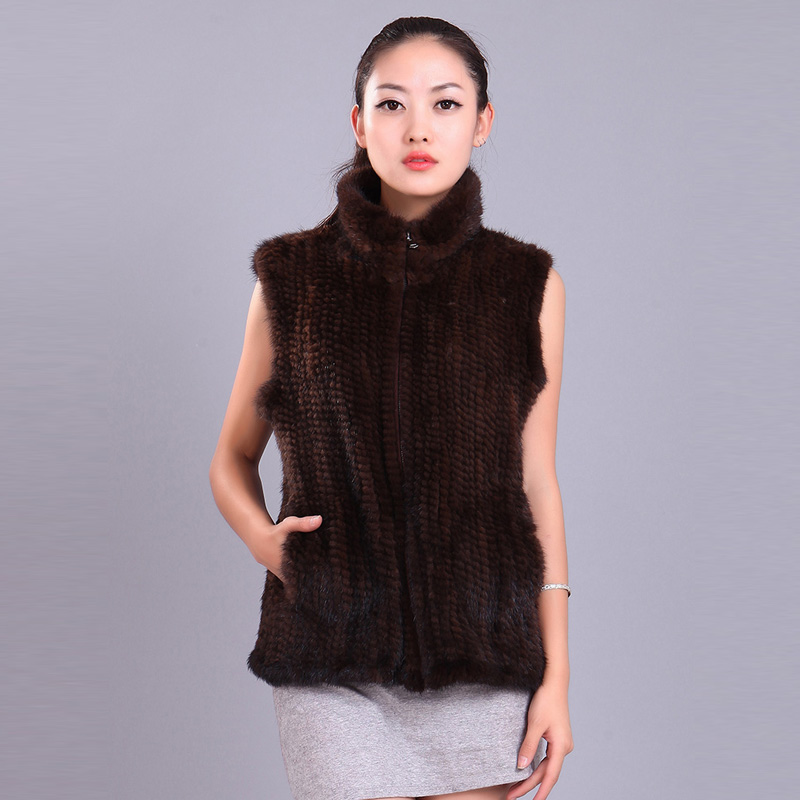 Fashion Women Fur Vests Winter Handmade Knit Natural Mink Fur Jackets With Collar Natural Mink Fur Waistcosts Female YC320