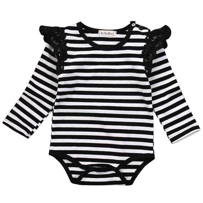 Lovely Toddler Infant Cotton Newborn Baby Girl Lace Romper Jumpsuit Striped Casual Clothes Sunsuit