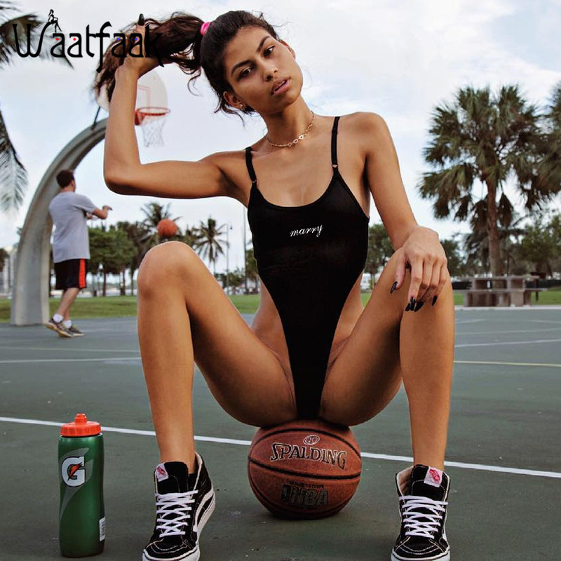 Waatfaak Slim High Waist Bodysuit Women Adjusted Sexy Black Summer Crop Top Sleeveless O ...