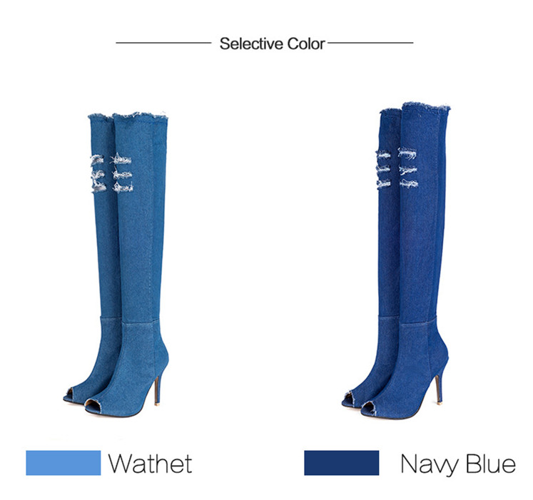 02964e4891 High Heels Jeans Shoes Cowboy Boots For Women Denim Woman Large ...