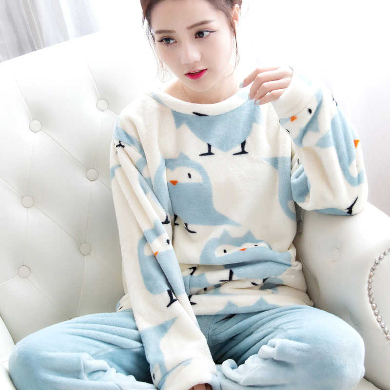 ... Women s Pajamas Autumn and Winter Pajamas set Women Long Sleeve  Sleepwear Flannel Warm Lovely Tops + ... aea1e524a