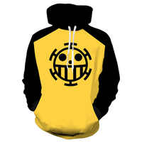 Anime One Piece 3D Hoodie Sweatshirts Trafalgar Law Cosplay Pirates Of Heart Thin Pullover Hoodies Tops Outerwear Coat Outfit