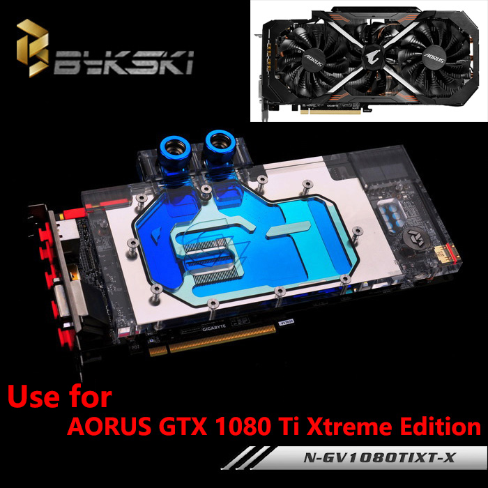 BYKSKI Full Cover Graphics Card Water Cooling GPU Block use for GIGABYTE AORUS GTX 1080Ti Xtreme Edition/GV-N108TAORUS-11GD RGB ntitan black x gpu cooler blower graphics card fan for msi geforce gtx 1080 titan founders edition video card cooling