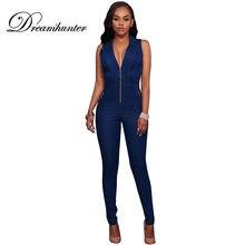 604401328136 Sleeveless Jumpsuit Jeans Sexy Deep V Neck Bodysuit Women Denim Overalls  Rompers Slim Zipper Ladies Pants Jeans
