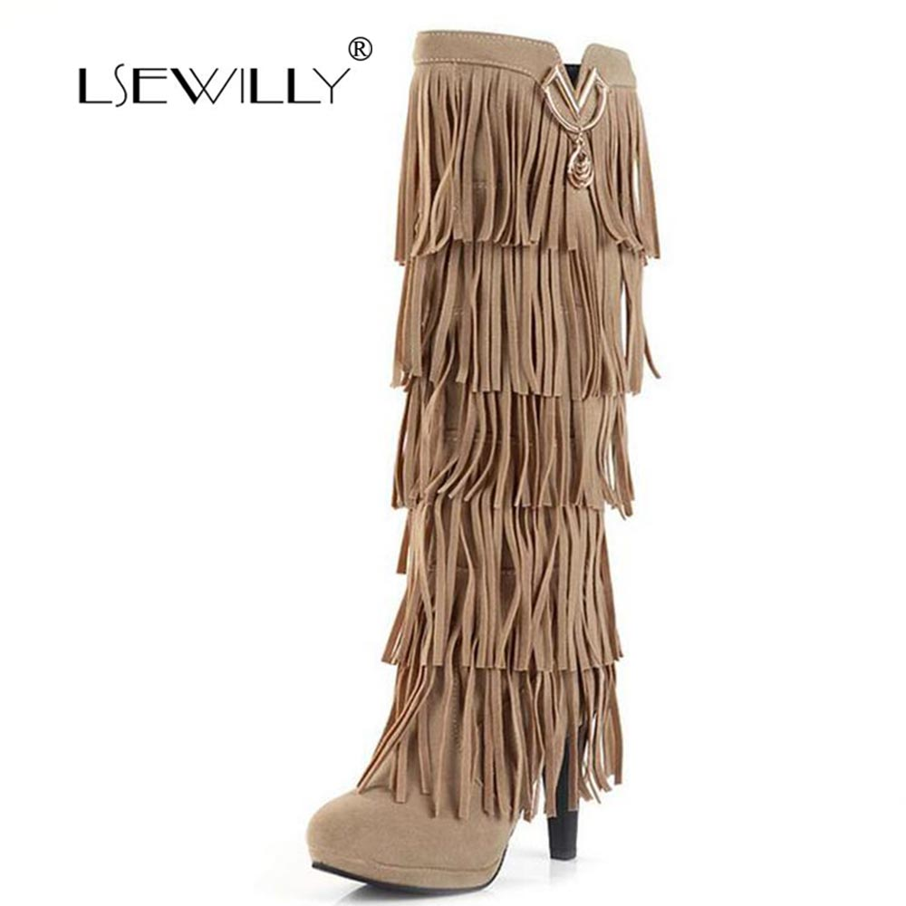 Lsewilly New Flock Winter Women Boots High Heels Over The Knee High Bota Shoes Fringe Tassels Fashion Long Boots Woman AA255 dijigirls new autumn winter women over the knee boots shoes woman fashion genuine leather patchwork long high boots 34 43