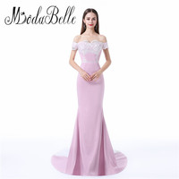 Navy Blue Maternity Evening Dresses For Pregnant Women Lace Beaded Side Slit Off The Shoulder Mermaid