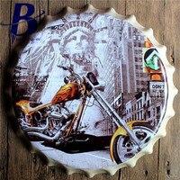 כובע אופנוע סימנים הקלה בקבוק עגול פח בר סימן פח בציר פאב בית ול דקור אמנות פוסטר מתכת 3D סגנון 40 ס