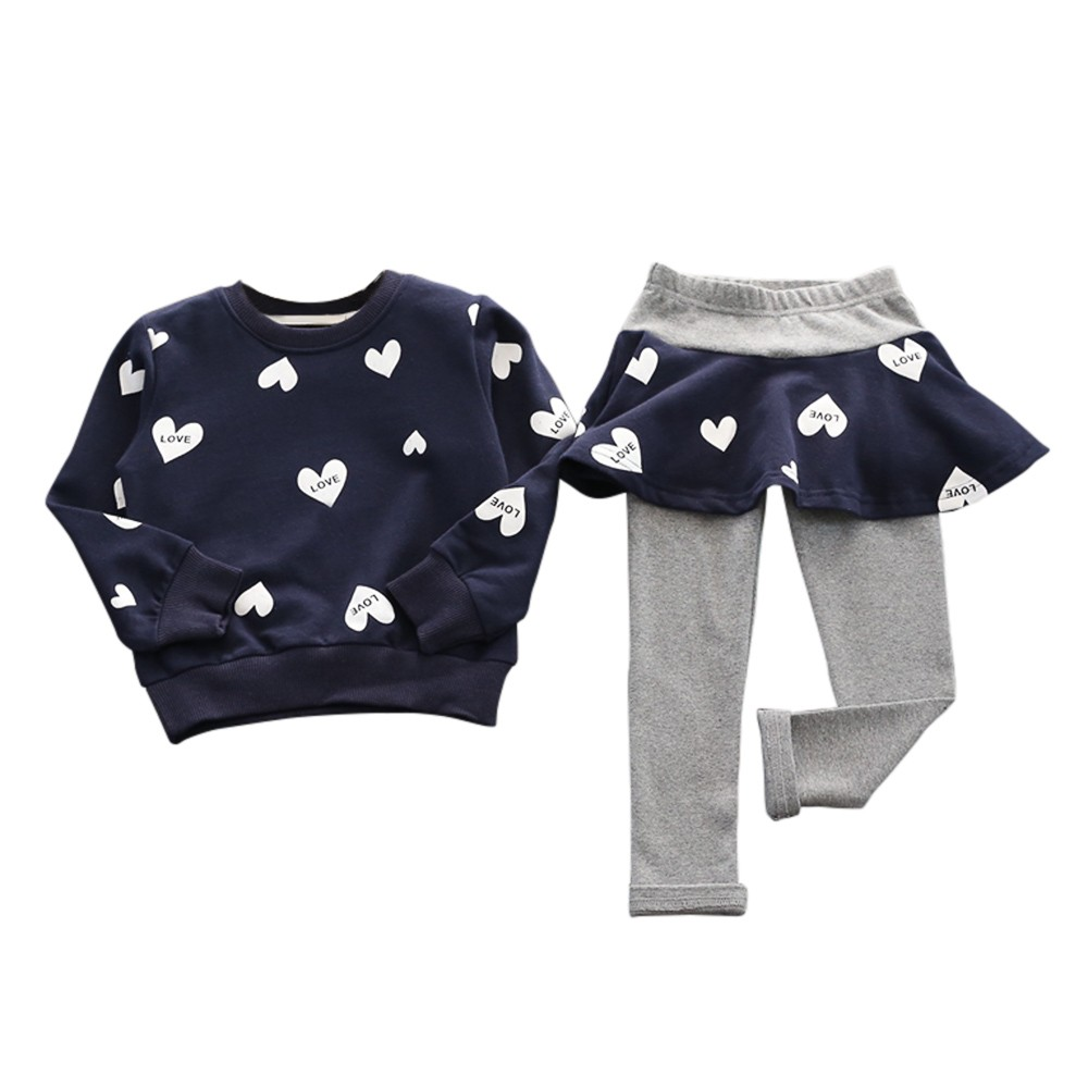 baby clothes overalls childrens winter tracksuits Love Heart Long Sleeve Shirt Sweater Pants Skirt Sports Suit New Year costume