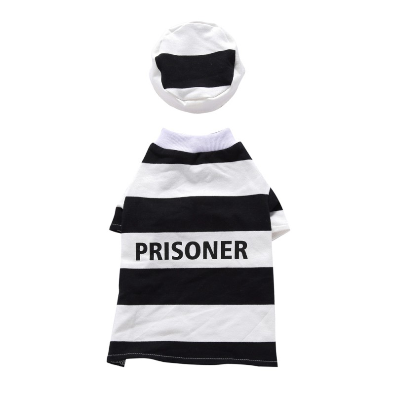 Halloween Dog Prisoner With Hat Suit Pet Coat Apparel With Cap for Winter for Cat Small Dog Puppy Cute Simple Style