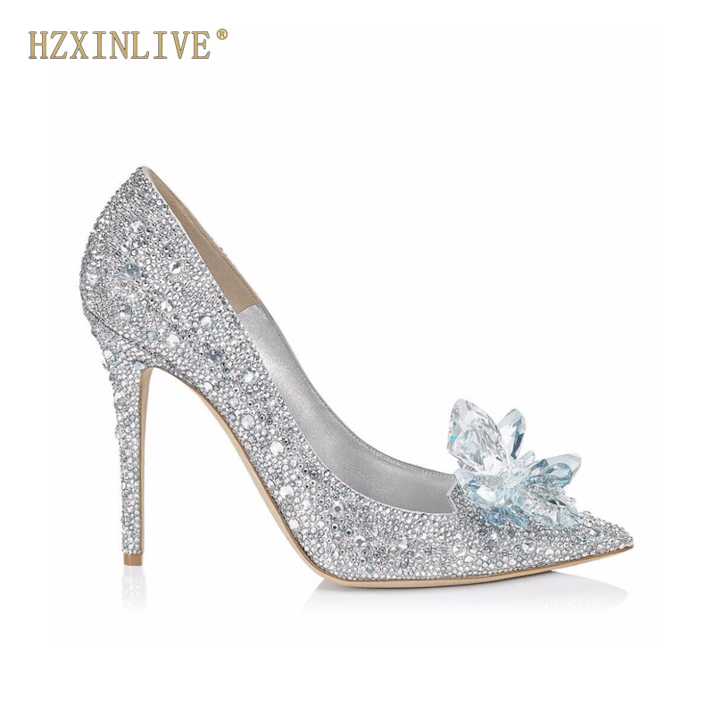 HZXINLIVE Luxury Brand Crystal Wedding Shoes for Women Pointed Toe Cinderella Heels Shoes Rhinestone High Heels Shoes Size 10 11 cinderella high heels crystal wedding shoes 14cm thin heel rhinestone bridal shoes round toe formal occasion prom shoes