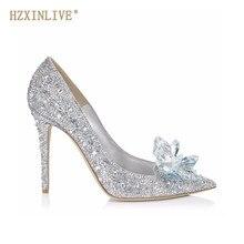 4eff3001124 HZXINLIVE Luxe Merk Kristal Trouwschoenen voor Vrouwen Puntschoen Cinderella  Hakken Schoenen Strass Hoge Hakken Schoenen Maat
