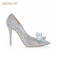 HZXINLIVE Luxury Brand Crystal Wedding Shoes for Women Pointed Toe Cinderella Heels Shoes Rhinestone High Heels Shoes Size 10 11