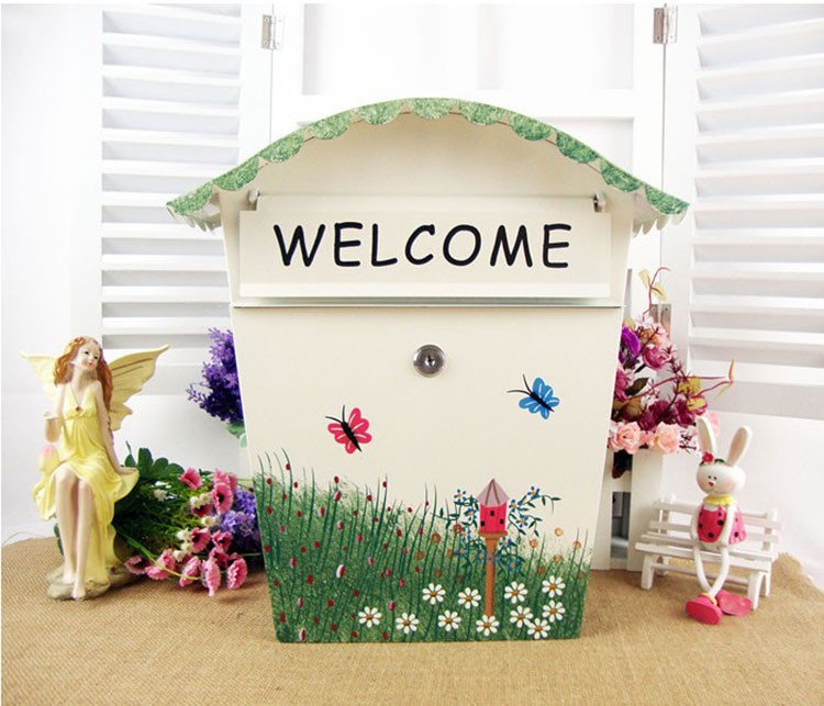 Garden Painting Mailbox Iron 36.5cm*33.5cm*12.1cm outdoor Newspaper Fashion Post Box Letter Wall Mounted home Decoration B437Garden Painting Mailbox Iron 36.5cm*33.5cm*12.1cm outdoor Newspaper Fashion Post Box Letter Wall Mounted home Decoration B437