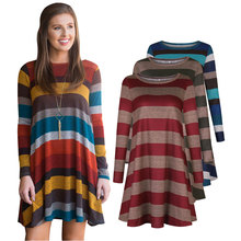 Europe and America Womens Hot Selling Short dress Wide Strip Long Sleeve Dress