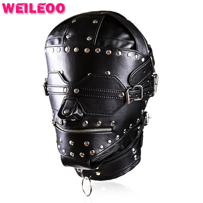 leather sex mask fetish mask bdsm bondage restraints slave adult games erotic adult sex toys for sex furniture product bondage kit fetish restraint kit adult games eye mask erotic adult sex toy for men handcuffs bdsm bondage