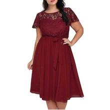 Размера плюс, летнее платье, женское, элегантное, сексуальное, кружевное, короткий рукав, пэчворк, большой размер, платье для офиса, для девушек, миди, платья, черный, красный
