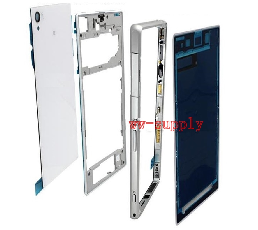 Full Housing Front Chassis Middle Frame Back Battery Case Port Cover Sticker for Sony Xperia Z1