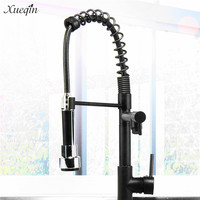 Xueqin All Black Drawbench Kitchen Water Tap Faucet Pull Down 360 Swivel Handheld Shower Kitchen Water Outlet Mixer Taps