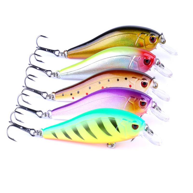 5pcs fishing lures 5 Colors Laser <font><b>Wobblers</b></font> Fishing Tackle 3D Eyes Sinking Minnow Fishing Lure Crankbait 6# hook