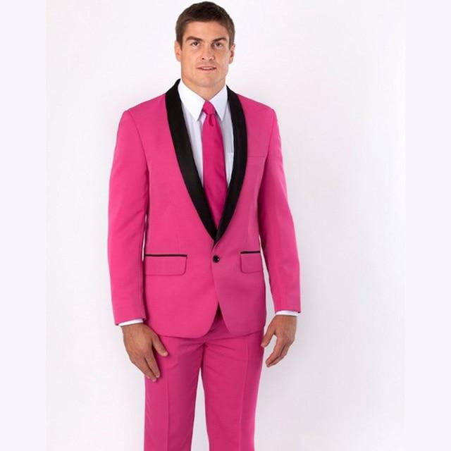 New pink Groomsmen Shawl Black Lapel Groom Tuxedos costume ...