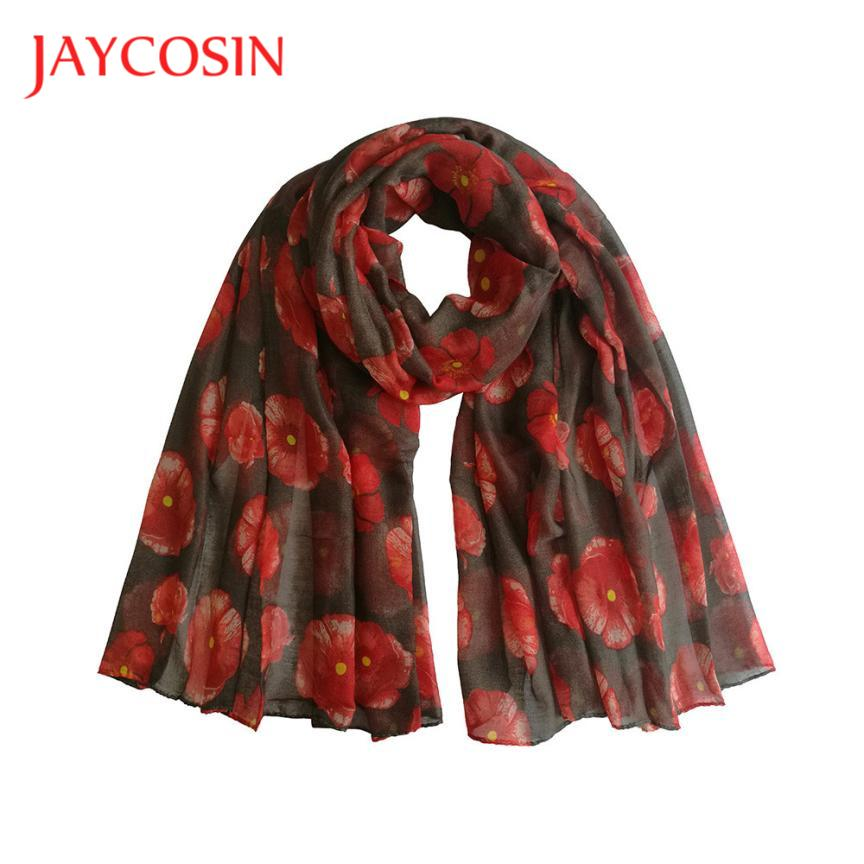 JAYCOSIN Newly Design Fashion Red Poppy Scarf Print Long Scarves Flower Beach Wrap Ladies Stole Shawl 71102 Drop Shipping