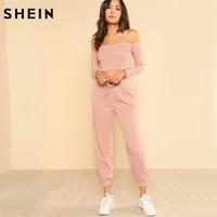 Шеин Для женщин комплект из 2 частей топ и брюки Повседневное женщина набор розовый укороченный топ с открытым плечом Bardot Top и шнурок брюки к...