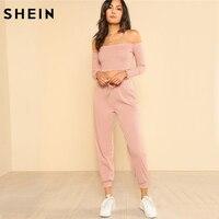 SHEIN Женский комплект из 2 предметов, топ и штаны, повседневный Женский комплект, розовый топ с открытыми плечами и штаны с завязками