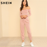 SHEIN Women 2 Piece Set Top And Pants Casual Woman Set Pink Off The Shoulder Crop