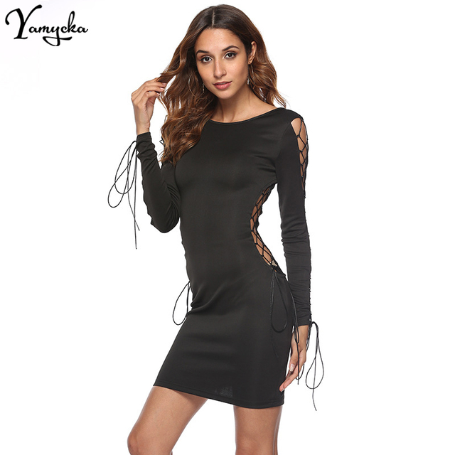 Bodycon Bandage Black Dress Women Vestidos 2018 Autumn Winter Long Sleeves Hollow Out O-Neck Backless Mini Sexy Party Dresses