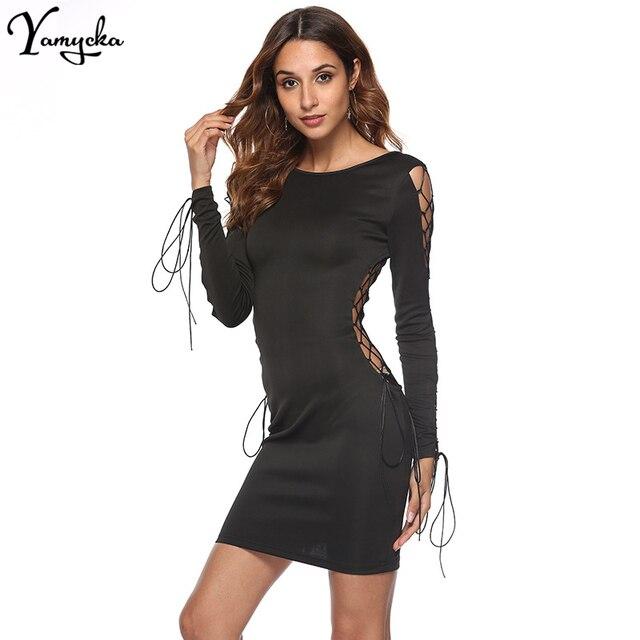 Sexy Black Bandage Summer Dress Women elegant Bodycon Vestido Long Sleeves  Hollow Backless Midi Night club clothes Party Dresses 35ecafa5b