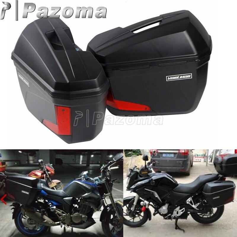 1 paire de sacoches latérales universelles 20L sacoches coffre arrière coffre à bagages avec lumière LED pour BMW Honda Kawasaki Suzuki