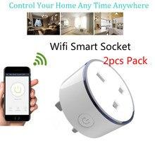 2 piezas pack cargador inteligente con luz LED RGB Reino Unido Socket Wireless WIFI Control remoto casa Control de voz trabaja con google Mini