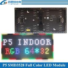 Módulo de panel de pantalla LED P5, para interiores, 320x160mm, 64x32 píxeles, 1/16 escanea, SMD3528, RGB, 3 en 1, SMD, módulo de panel de visualización LED P5 a todo color